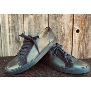 FRYE gemma low lace up leather navy blue sneakers